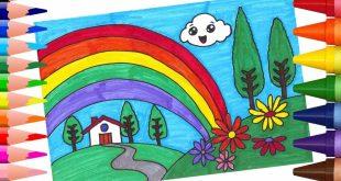 صورة رسم منظر طبيعي سهل للاطفال , علمي طفلك هذه الرسومات في الاجازة